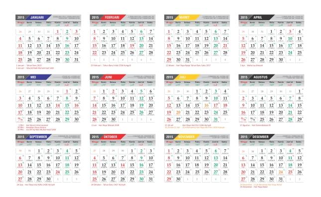 Kalender 2015 Nasional Lengkap Hijriyah dan Jawa