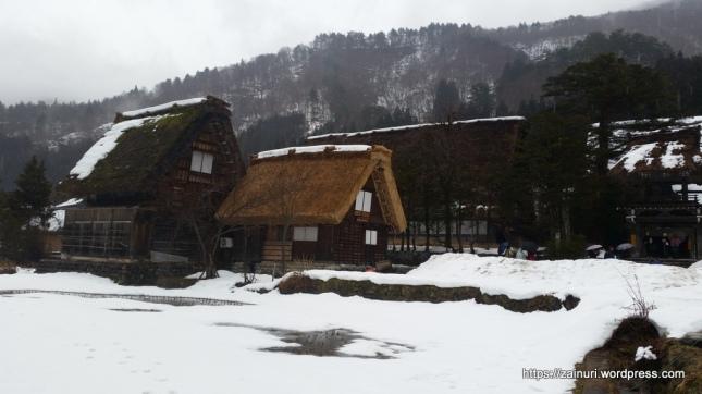 Salju sudah tidak begitu lebat, biasaya semua memutih termasuk atap-atap rumah